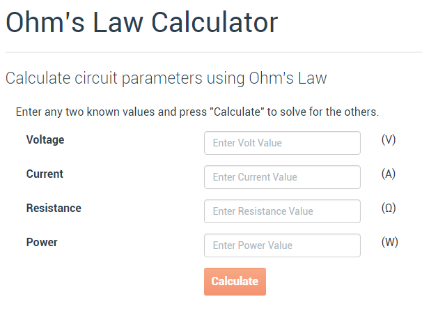 pcb prototyping Ohm law calculator